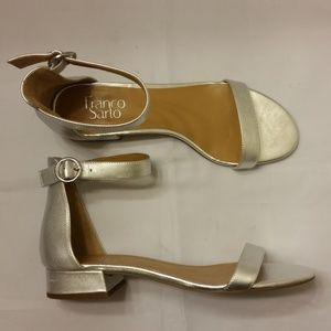 Franco Sarto Ankle Strap Sandals Silver  9M New!